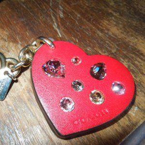 Coach Leather & Rhinestone Heart Key Chain